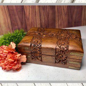 Vntg Carved Wood Trinket Jewelry Box